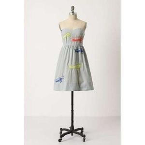 ANTHROPOLOGIE Wright Embroidered Airplane Dress